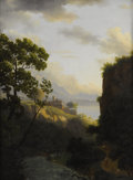 Fine Art - Painting, European:Antique  (Pre 1900), ALEXANDRE-HYACINTHE DUNOUY (French 1757-1841). View Toward AFortress And Mountain Lake, circa 1830. Oil on beveled maho...(Total: 2 )
