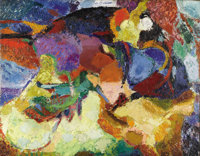 ARTHUR BEECHER CARLES (American 1882-1952) Untitled Abstraction, circa 1921-27 Oil on canvasboard 16 x 20-1/2 inches