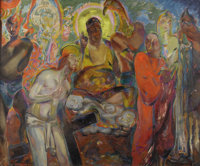 HENRY MCCARTER (American 1866-1942) Men's Gods, circa 1923 Oil on canvas 42 x 50 inches (106.7 x 127 cm) Signed at l