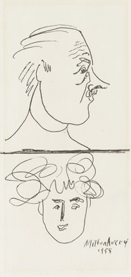 MILTON AVERY (American 1893-1965) Portrait Study Of A Man And Woman, 1958 Ink on paper 8-1/4 x 4 inches (21 x 10.2 cm