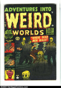 Golden Age (1938-1955):Horror, Adventures Into Weird Worlds #13 (Atlas, 1952) Condition: VG/FN.Overstreet 2003 VG 4.0 value = $44; FN 6.0 value = $66....