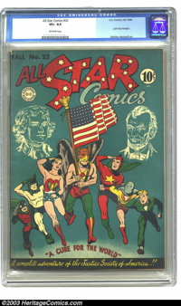 All Star Comics #22 (DC, 1944) CGC VF+ 8.5 Off-white pages. Extremely high-grade copy of this patriotic cover featuring...