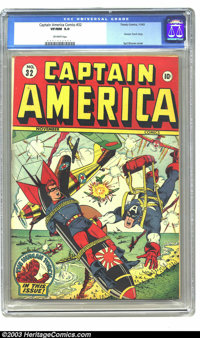 Captain America Comics #32 (Timely, 1943) CGC VF/NM 9.0 Off-white pages. Syd Shores gives Alex Schomburg a month off fro...