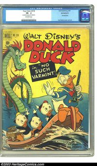 """Four Color #318 Donald Duck in """"No Such Varmint.""""(Dell, 1951) CGC PR .5 Off-white pages. Carl Barks cover and..."""
