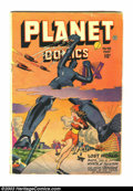 Golden Age (1938-1955):Science Fiction, Planet Comics #48 (Fiction House, 1947) Condition: VG-. Cool Robotcover. Tape inside front cover. Piece off back cover and ...