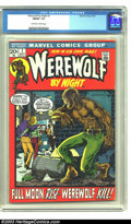 Bronze Age (1970-1979):Horror, Werewolf by Night #1 (Marvel, 1972) CGC FN/VF 7.0 Off-white towhite pages. Great Bronze Age key. Mike Ploog art. Overstreet...