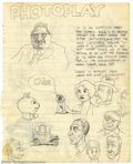 "Original Comic Art:Sketches, Robert and Charles Crumb - Original Sketches (undated). ""What pointless drivel."" So writes Charles Crumb in the middle of th..."