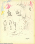 Original Comic Art:Sketches, Frank Frazetta - Original Gesture Drawings (undated). Several nice, quick gestural sketches, including some trapeze figures,...