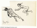 Original Comic Art:Sketches, Frank Frazetta - Original Sketches of Male Figures (undated). This small sketch in ink of two male figures is from one of Fr...