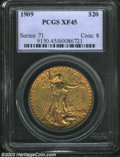 Saint-Gaudens Double Eagles: , 1909 XF45 PCGS. ...