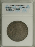 Early Half Dollars: , 1795 50C 2 Leaves--Tooled, Graffiti--ANACS. Fine 12 Details.O-105a, R.4. The right obverse field has an illegible cursive ...