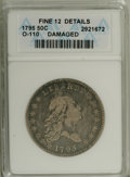 Early Half Dollars: , 1795 50C 2 Leaves--Damaged--ANACS. Fine 12 Details. O-110, R.3.Uneven wear at 12:30 and 6:30 on the reverse suggests a mil...