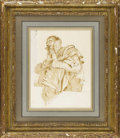 Fine Art - Painting, European:Antique  (Pre 1900), An Italian18th Century Figurative Drawing. Unknown artist, Italian. 18th Century. Brown wash over graphite on paper. 10.75...