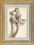 Fine Art - Painting, European:Antique  (Pre 1900), An Italian 19th Century Figural Drawing. Unknown artist, Italian. 19th Century. Watercolor, graphite on paper. 14 inches x...