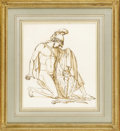 Fine Art - Painting, European:Antique  (Pre 1900), An Italian 19th Century Figural Drawing. Unknown artist, Italian.19th Century. Graphite and ink on paper. 12.25 inches x 10...