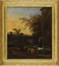 Fine Art - Painting, European:Antique  (Pre 1900), An English Farm Landscape. Unknown, English. Nineteenth Century.Oil on canvas. 23.5 inches x 25 inches. Landscape depic...