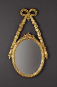 A French Giltwood Wall Mirror  Unknown maker, French Nineteenth Century Giltwood Unmarked 29 inches high x 16.5 inches...