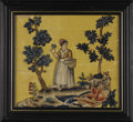 Decorative Arts, French:Other , A Pair of Framed Silk Needlework Pictures. Unknown artist, French.Late 18th Century. Colored silk. 13.5 inches x 14.5 inc... (Total:2 )