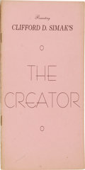 Books:Pamphlets & Tracts, Clifford Simak: The Creator Chapbook. (Los Angeles: CrawfordPublications, 1946), first edition, 48 pages, pink wrap...