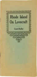 Books:First Editions, Donald M. Grant and Thomas P. Hadley, editors: Rhode Island onLovecraft. (Providence: Grant-Hadley, 1945), first editio...