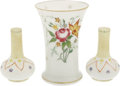 """Movie/TV Memorabilia:Memorabilia, Ava Gardner Owned Flower Vases. Includes a 6"""" white vase with goldtrim and floral design, and two 4"""" glass vases with red, ..."""