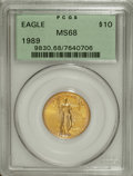 Modern Bullion Coins: , 1989 G$10 Quarter-Ounce Gold Eagle MS68 PCGS. PCGS Population(85/1266). NGC Census: (10/442). Mintage: 81,789. Numismedia ...