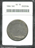 Early Half Dollars: , 1806 Pointed 6, Stem VG10 ANACS. ...