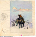 Original Comic Art:Sketches, Frank Frazetta - Original Sketch of Indian (undated). Fantasy master, Frank Frazetta, created this spirited color sketch of ...