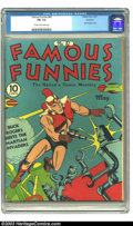 Golden Age (1938-1955):Cartoon Character, Famous Funnies #82 Rockford pedigree (Eastern Color) CGC FN- 5.5Cream to off-white pages. Great Buck Rogers robot cover. Ov...
