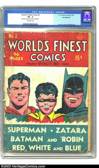 World's Finest Comics #2 (DC, 1941) CGC PR 0.5 Incomplete. Off-white pages. Missing last page, which affects story. Here...