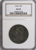 Bust Half Dollars, 1834 50C Large Date, Small Letters AU50 NGC. O-107, R.1. Mintage:6,412,004. Numismedia Wsl. Price for NGC/PCGS coin in AU5...
