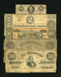 Confederate Notes:Group Lots, Confederate Group Lot.. ... (Total: 5 notes)
