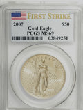 Modern Bullion Coins: , 2007 $50 One-Ounce Gold Eagle MS69 PCGS. . PCGS Population(2286/115). (#146921)...