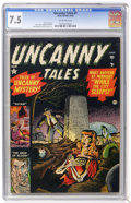 Golden Age (1938-1955):Horror, Uncanny Tales #1 (Atlas, 1952) CGC VF- 7.5 Off-white pages. JollySolly Brodsky became Scary Solly when he came up with ...