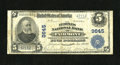 National Bank Notes:West Virginia, Fairmont, WV - $5 1902 Plain Back Fr. 601 The Peoples NB Ch. #9645. Printed signatures of C. Richard Hall and J.M. Brow...