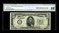 Fr. 1960-I $5 1934D Federal Reserve Note. CGA Gem Uncirculated 68. Titanic margins and good embossing are seen on this v...