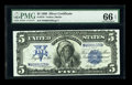 Large Size:Silver Certificates, Fr. 278 $5 1899 Silver Certificate PMG Gem Uncirculated 66 EPQ. TheEPQ designation was clearly earned by this deeply emboss...