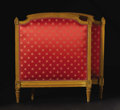 Furniture: French, A Painted and Upholstered French Day Bed. Unknown maker, French. Circa 1900. Painted wood. Unmarked. 36 inches high x 31 i...