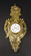 Timepieces:Clocks, A French Rococo-style Gilt Bronze Cartel Clock. Unknown maker, French. Circa 1880-1920. Gilt bronze, steel, enamel and gla...