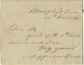Autographs:Statesmen, Jefferson Davis Autograph Note Signed...