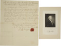 "Autographs:Statesmen, John Rutledge War-date Manuscript Document Signed ""J.Rutledge"" as Governor of South Carolina. ..."