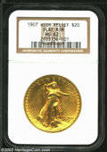 High Relief Double Eagles: , 1907 High Relief, Flat Rim MS62 NGC. ...
