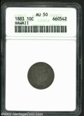 Coins of Hawaii: , 1883 Hawaii Ten Cents AU50 ANACS. ...
