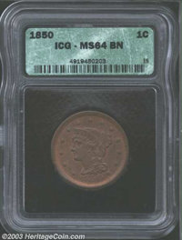 1850 1C MS64 Brown ICG. N-7, R.2. Boldly struck in the centers, with a hint of softness of strike at the margins. The ch...