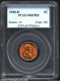 Lincoln Cents: , 1945-D 1C MS67 Red PCGS. A sharply struck Superb Gem with ...