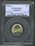 Jefferson Nickels: , 1938-D 5C MS67 PCGS. This gem features lightly undulating ...