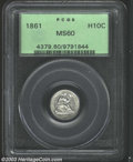 Seated Half Dimes: , 1861 H10C MS60 PCGS. Somewhat unevenly struck from ...
