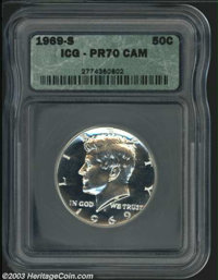 1969-S 50C PR70 Cameo ICG. A truly lovely Superb Gem proof, this specimen has an awesome strike, with even tiny design d...