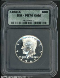 1969-S 50C PR70 Cameo ICG. The highly reflective fields seem fathomless, and fully frosted devices appear to be suspende...
