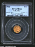 Commemorative Gold: , 1916 G$1 McKinley MS66 PCGS. A sharply struck Gem that ...